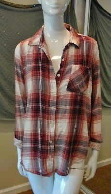 b4a158237380 Mudd Women's Multi-Color Long Sleeve Flannel Shirt Button Front Plaid Size S