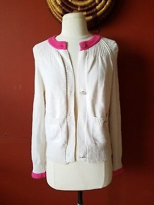 AUTHENTIC CHANEL WHITE IVORY PINK CASHMERE CARDIGAN SWEATER KNIT 38 CC  Buttons 06d2fa169