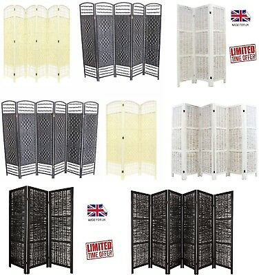 HAND MADE ROOM DIVIDER WICKER /SEPARATOR/PRIVACY SCREEN.Black Cream 3 4 5 6PANEL