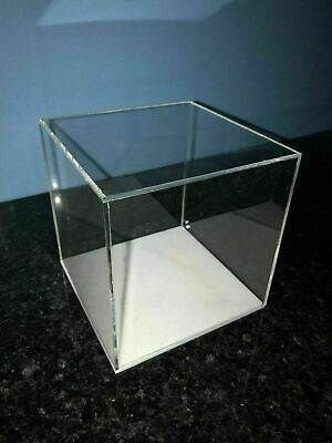 Display cube Square Box Perspex with choice of colour bases