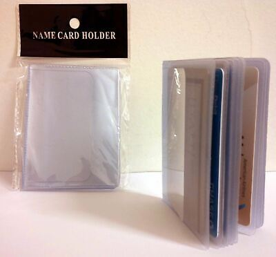Lot Of 2 16-Page Credit Card Holder Plastic Clear Wallet Photo Inserts