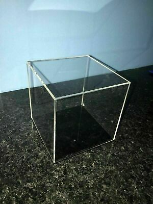 Clear Acrylic /perspex Display cube Square Box with choice of 5 colour bases