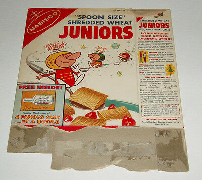 1950's NABISCO SPOONMAN Cereal Box Juniors spoonmen Ship in Bottle offer