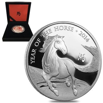 2014 Great Britain 1 oz Proof Silver Year of the Horse Coin .999 Fine (w/Box &