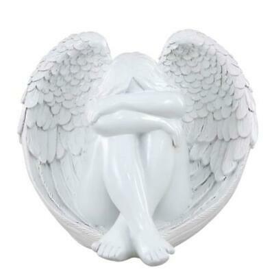 White Gloss Cherub Angel w/ Wings Figure Figurine Ornament 21x24cm Gift