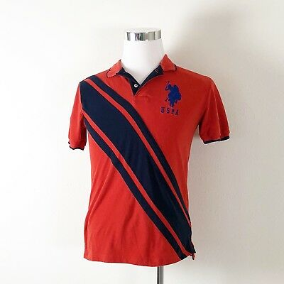 63d4518f US POLO ASSN Shirt Embroidered USPA Player Orange Blue Mens X-Large ...