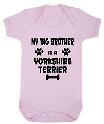 My Big Brother (or Sister) Is A Yorkshire Terrier Blue or Pink Baby Bodysuit