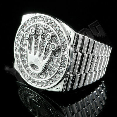 18K White Gold Plated Out Iced CZ Presidential MICROPAVE Style Band Mens Ring