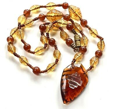 Vintage Art Deco Egyptian Revival Golden Colour Glass Necklace - 20inch