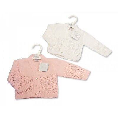 KNITTED BABY GIRL  CARDIGAN WHITE or  PINK  Newborn 0-3 & 3-6 mth