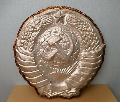 Original Soviet Russian Big and beautiful metal  Coat of arms made in USSR 1970s