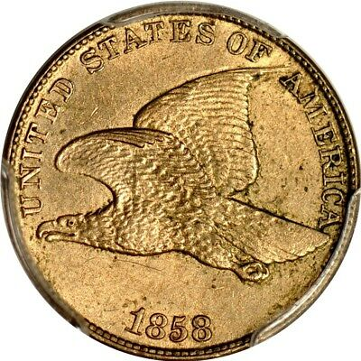 1858 1C Large Letters Low Leaves. Flying Eagle Cent PCGS MS61