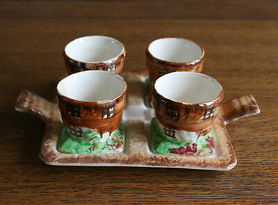 Vintage Price Bros 4 Egg Cups on Stand COTTAGE WARE