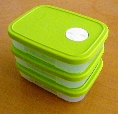 Tupperware FREE SHIP NEW Set 3 Control Freezer Container with Dater Disk 1 1/4 c
