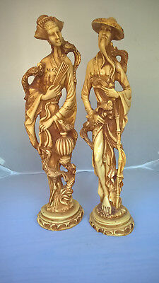 "A Pair of 18"" Tall Male and Female Oriental Chinese Resin Figures"