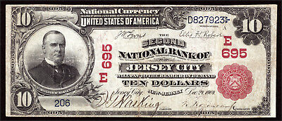 $10 1902 Second National Bank of Jersey City, New Jersey CH 695 TOUGH RED SEAL