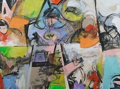 Original abstract acrylic and oil painting canvas signed by artist.