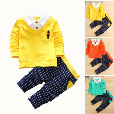 Boy Kids Infant Toddler Suits Outfits Sets Pageboy Party Casual Long Sleeve 2PCS
