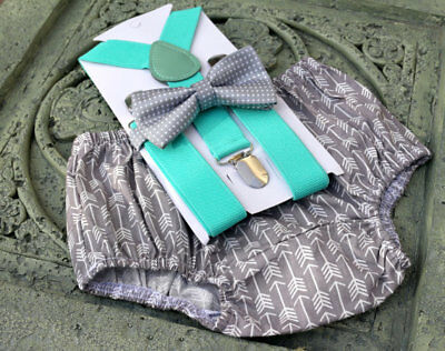 1st Birthday boy cake smash bow tie suspenders outfit 12 mo Gray arrows mint,