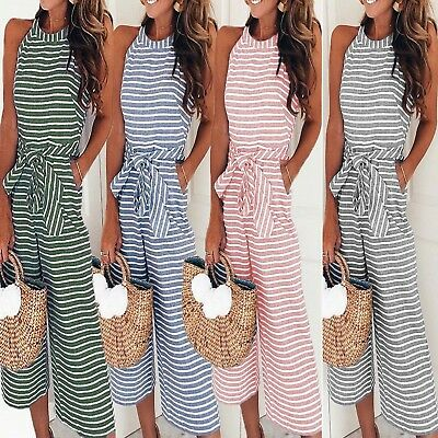 UK Womens Summer Striped Wide Leg Holiday Jumpsuit Playsuit Culotte UK Size 6-16
