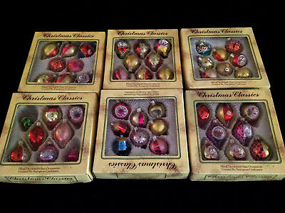 "Vintage-Ornaments Glass""CHRISTMAS-CLASSIC""-European Made-Hand Painted Glitter 48"