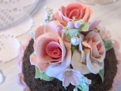Stunning Shabby Faux Cupcake Pink Clay Roses / Glass  Display Dome Cloche