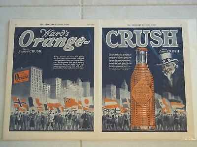 SEP1924 Wards ORANGE CRUSH 2-Page Mag AD Uncle Sam World Flags Krinkly6oz Bottle