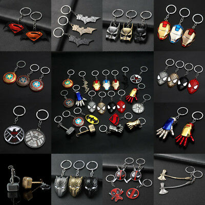 Superhero Keychain Key Cap Batman Superman Keyring Charm Key Holder Iron Man