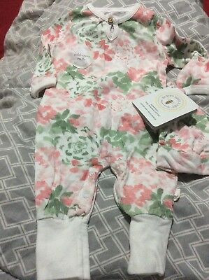 a92bd58347cf NEW Burt s Bees Baby Girl 0-3 Months One Piece Romper Outfit Pink Floral W