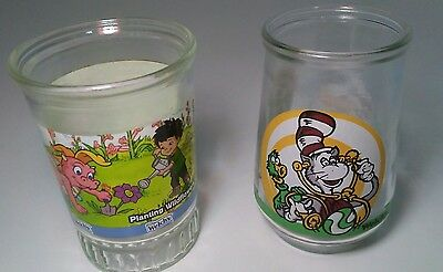 Vintage Lot of 2 Welch's Jelly Jar Glasses Dragon Tales Dr. Suess Cat in the Hat