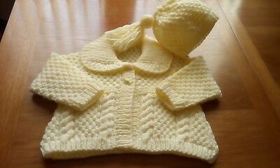 916b130f5 HAND KNITTED BABY girls aran cardigan