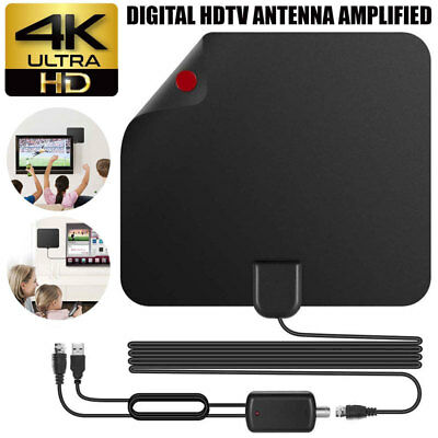 Super Thin Indoor Digital HD TV HDTV Antenna FM/VHF/UHF FREE TV Signals 100Miles