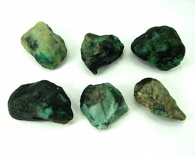 300 Ct Natural Green Emerald Loose Gemstone Rough Specimen Lot 6 Pc - 3359