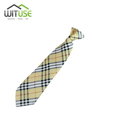 Light Brown Plaid School Boy Girl Kids Child Wedding Party Elastic Tie Necktie