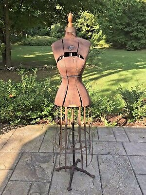 Antique Early 20th C DRESS FORM with Cage Cast Iron Base Hall Borchert