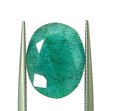 5.10 Ct Certified Natural Green Emerald Loose Oval Colombian Gemstone - 109065