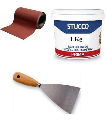 KIT STUCCO PER MURO COMPOSTO DA SPATOLA CARTA VETRO 1 MT STUCCO IN PASTA DA 1 Kg