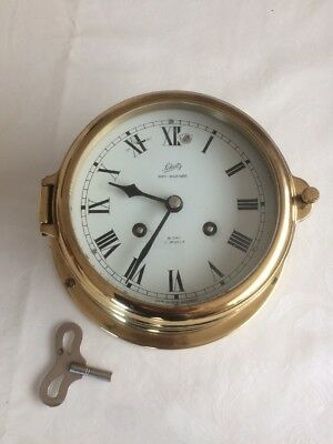 "Rare "" Schatz "" Midi Mariner Messing Glasenuhr Schiffsuhr, 8 Tage Werk, 7 Jewels"