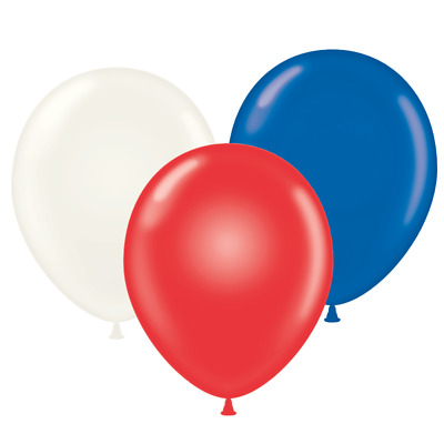"17"" Tuf-Tex Red, White & Blue Assortment Latex Balloons (50 Ct)"