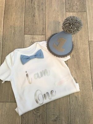 Baby Boys 1st Birthday Cake Smash Outfit. Vest Top Tshirt Hat Bow Tie. Blue Grey