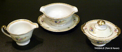 3 Pieces MEITO hand painted china ME1842 pattern ~ Cream  & Sugar & Gravy Boat
