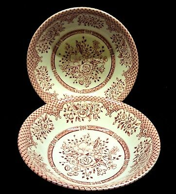 Wood & Sons England Kew Pink Coup Soup/Cereal Bowls x2 Pink Trellis & Floral
