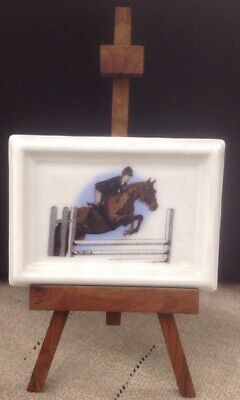 NEW, Miniature Equestrian Jumper Plaque With Easel, Show Season,Great Present 🎁