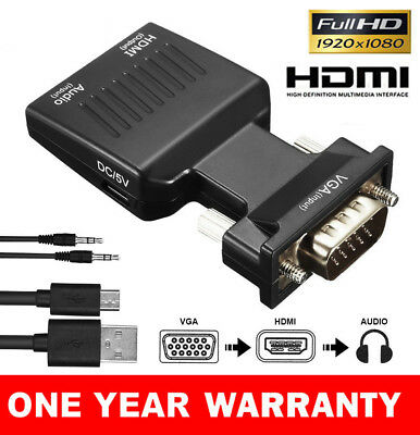 VGA to HDMI Male to Female Video Adapter Cable Converter with Audio HD 1080P
