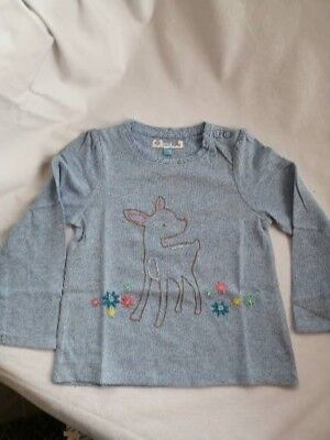 New Ex John Lewis Girls Long Sleeve T-Shirt Deer & Flowers Age 12-18 Months
