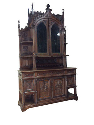 Monumental Antique French Gothic Cabinet, Tall Spires, 19th Century