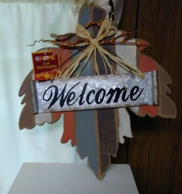 Wooden Country Leaf with Metal / Tin Welcome sign