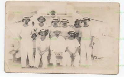 Old Postcard Hms Emerald Crew Nanking / Nanking Incident China Real Photo 1927