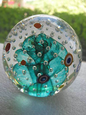 Vtg GES Glass Eye Studio PAPERWEIGHT Green Swirl w/Controlled Bubbles...LOVELY!