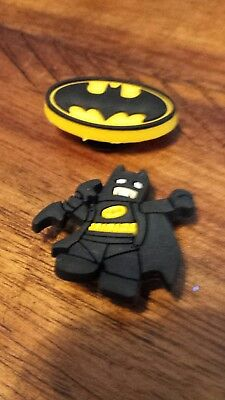 Lot of 2 Batman charms for Crocs clog shoes or wristband bracelet. New.